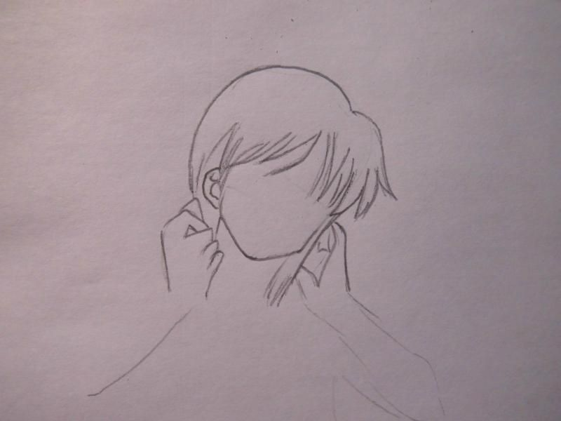 How to draw Hao Asakura from the Shaman King with a pencil step by step 3