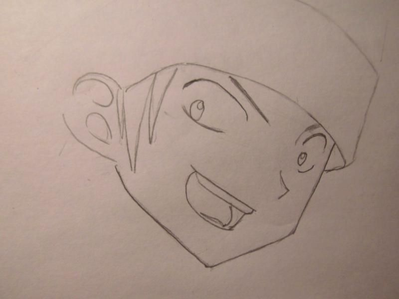 How to draw Yohe Asakura's head from the Shaman King step by step 3