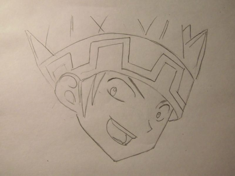 How to draw Yohe Asakura's head from the Shaman King step by step 4