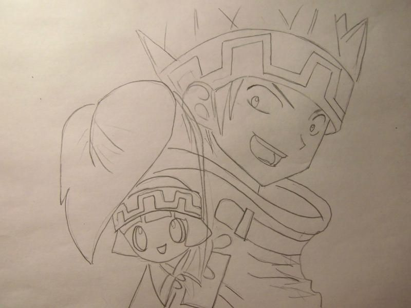 How to draw Yohe Asakura's head from the Shaman King step by step 5