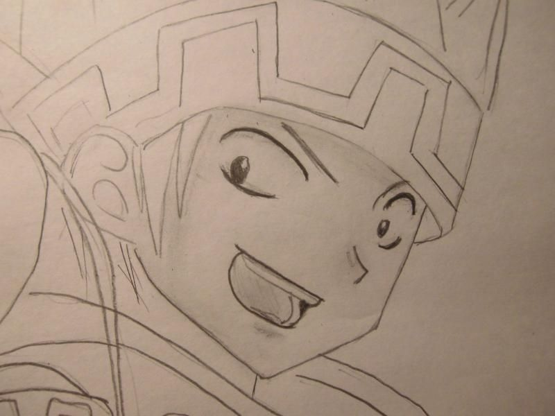 How to draw Yohe Asakura's head from the Shaman King step by step 6
