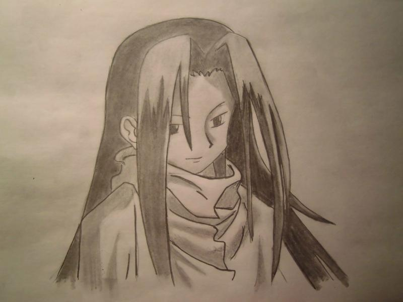 How to draw Hao Asakura from the Shaman King with a pencil step by step