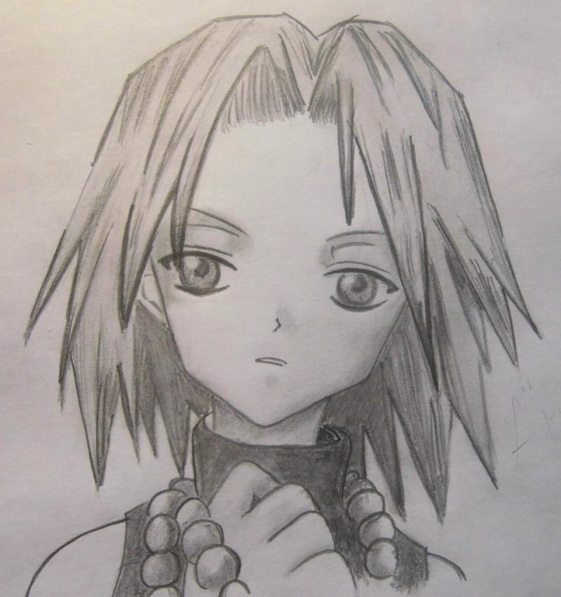 How to draw Anna from the Shaman King with a pencil step by step