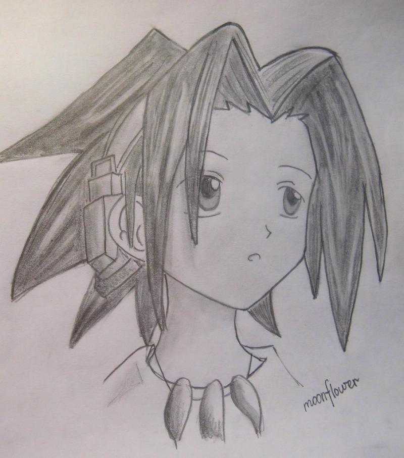 How to draw Yohe Asakura's head from the Shaman King step by step
