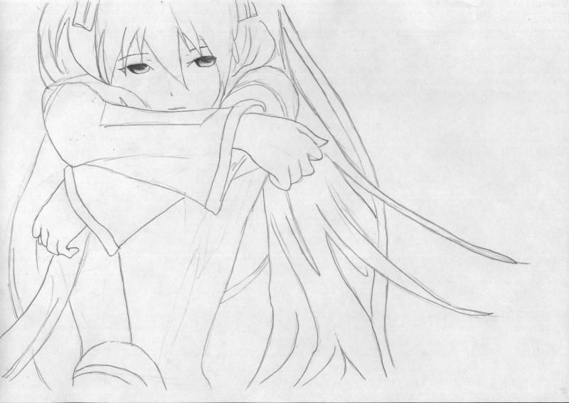 How to draw to Inori Yudzurikh from Guilty Crown with a pencil 6