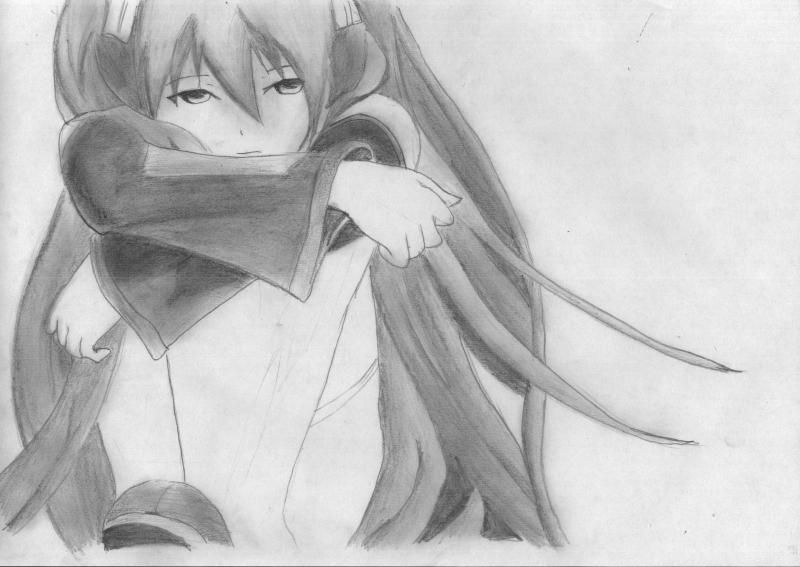 How to draw to Inori Yudzurikh from Guilty Crown with a pencil 7