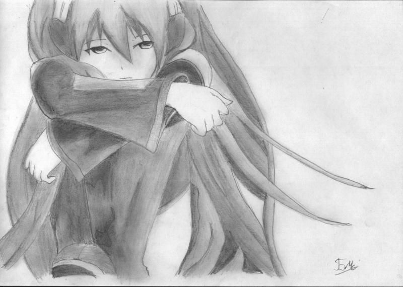 How to draw to Inori Yudzurikh from Guilty Crown with a pencil 8