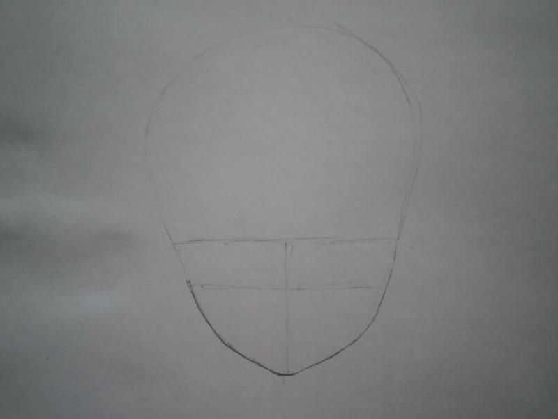 We learn to draw a face and hair in style of an anime step by step 2