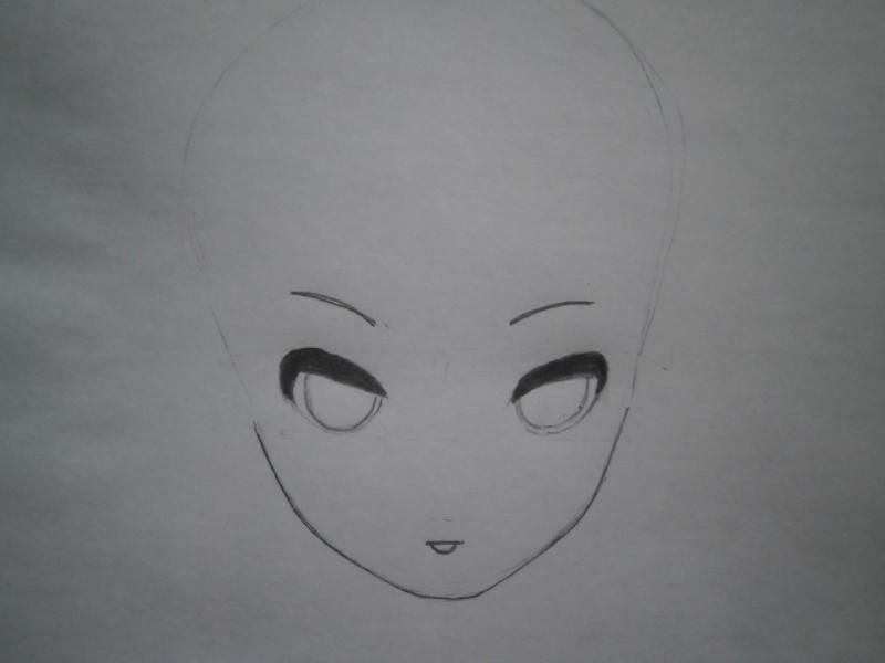 We learn to draw a face and hair in style of an anime step by step 3
