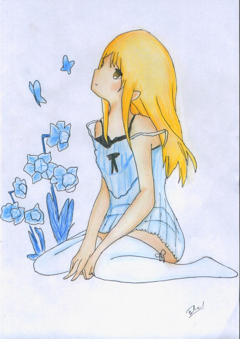 We learn to draw the girl sitting an anime colored pencils