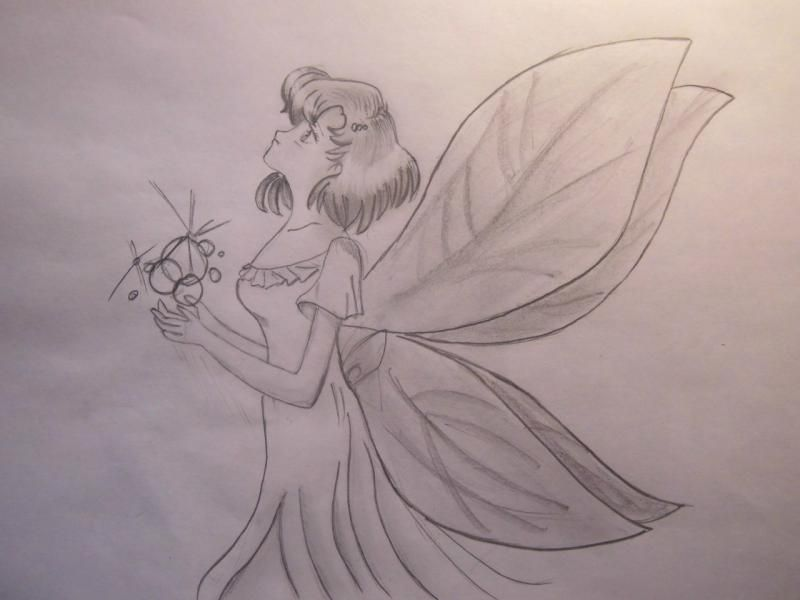 How to draw Amy Mitsouno in an image of the fairy with a pencil step by step