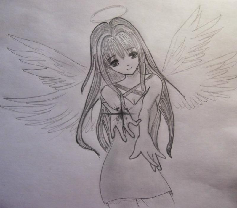 How to draw an anime of an angel with a pencil step by step