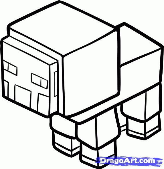 How to draw a sheep from game maynkraft with a pencil step by step