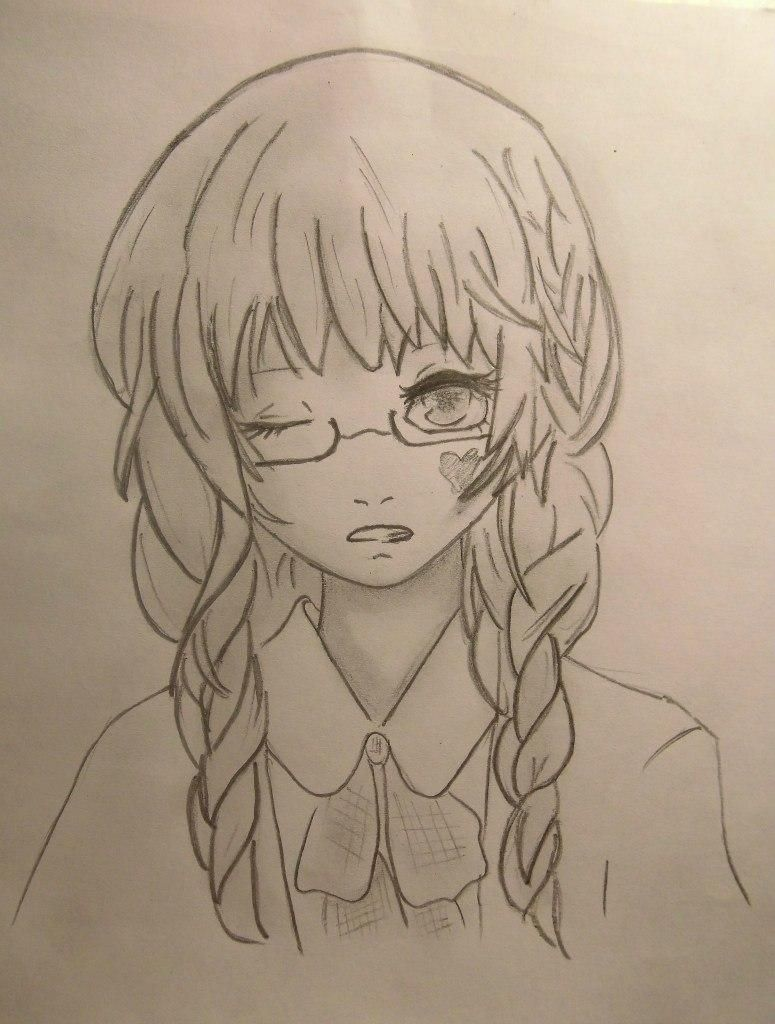 How to draw Chiya from Chobitov with a pencil step by step 6