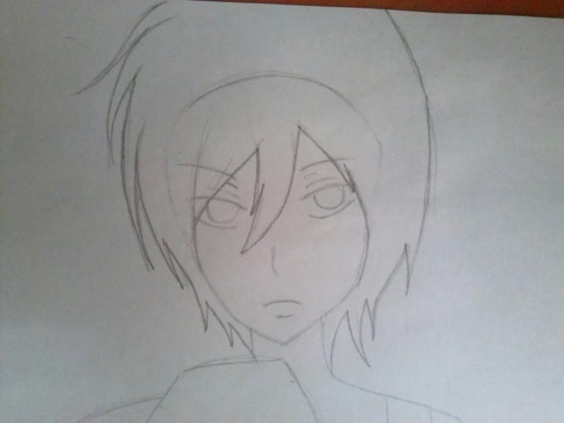 How to draw Hibari Kyoya from an anime of Reborn with a pencil step by step 3