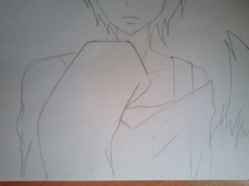 How to draw Hibari Kyoya from an anime of Reborn with a pencil step by step 5