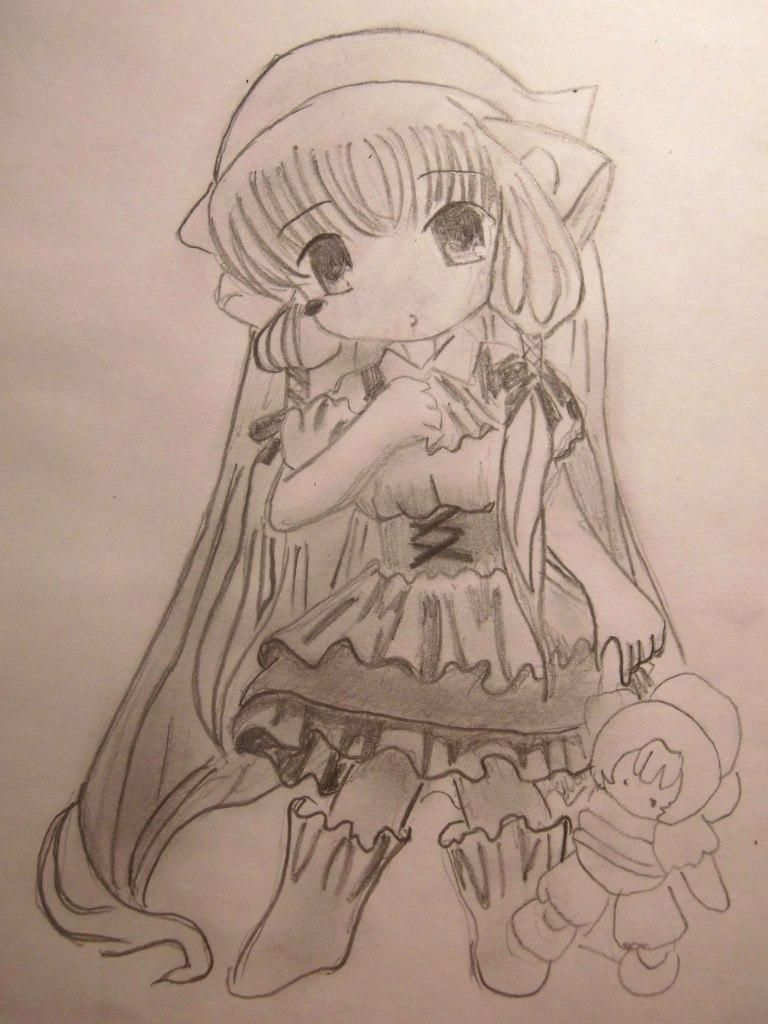 How to draw a manga the girl with beautiful eyes a pencil 6
