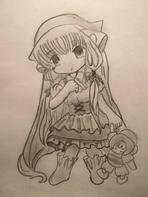 How to draw Chiya from Chobitov with a pencil step by step