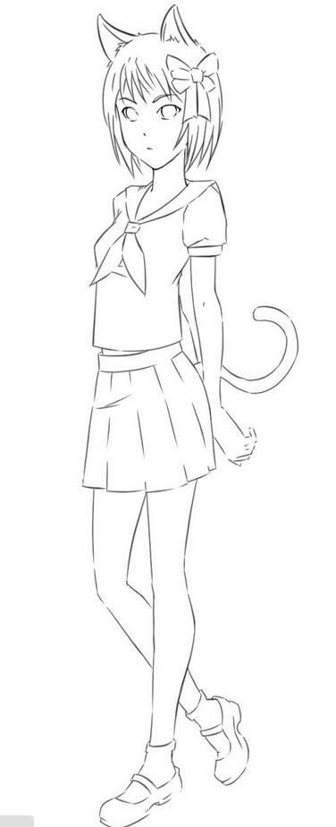 How to draw the girl cat to the utmost a pencil step by step