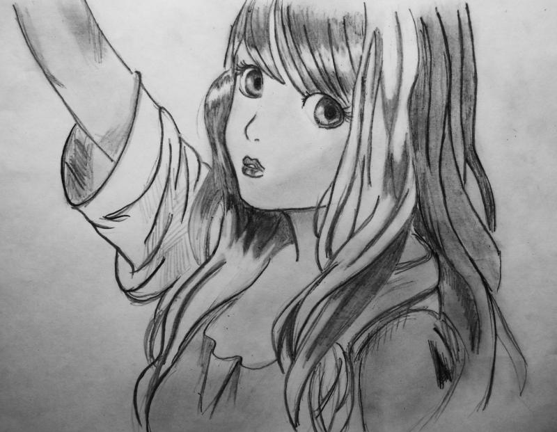 We draw an anime the girl on paper a pencil