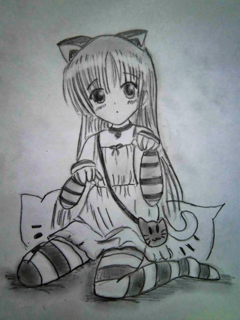 How to draw the girl sitting an anime on paper with a pencil