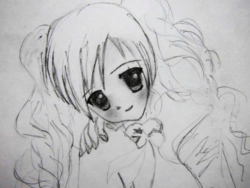 How to draw an anime the girl with long hair a pencil 4