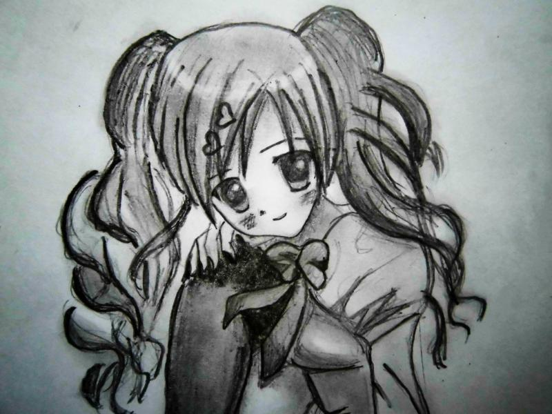 How to draw an anime the girl with long hair a pencil 5