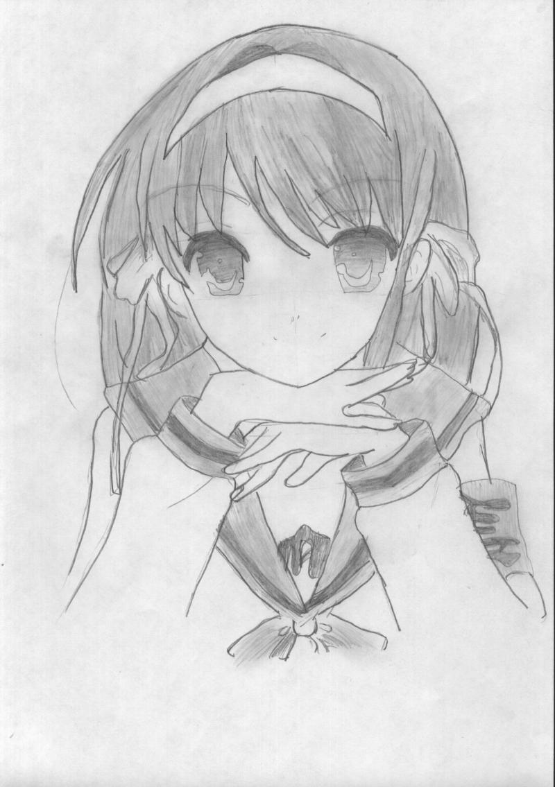 How to draw Haruhi Suzumiya on paper with a pencil