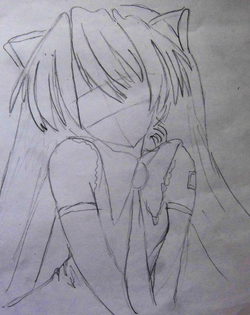 How to draw the girl lying an anime a cat with a pencil 3