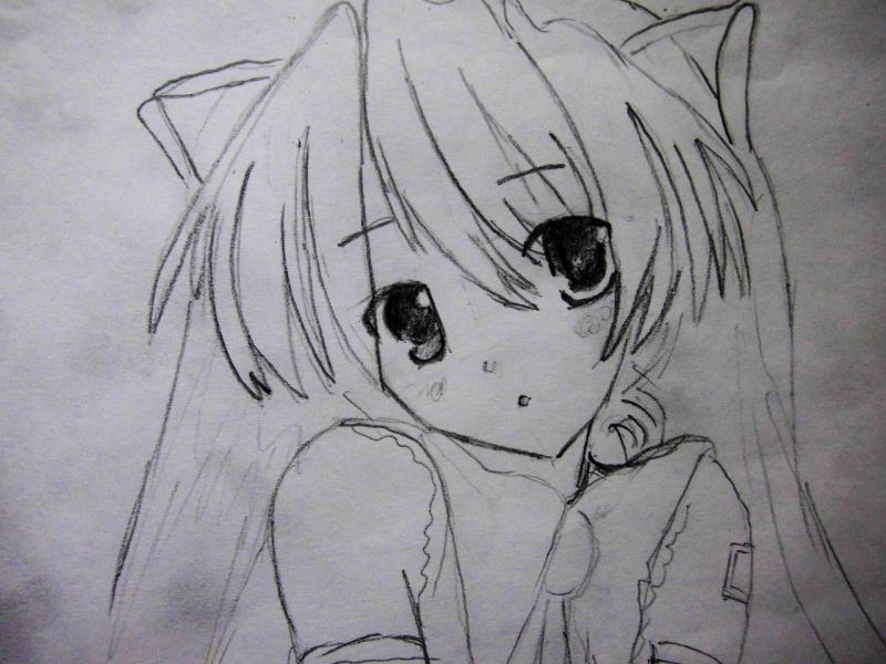 How to draw the girl lying an anime a cat with a pencil 4