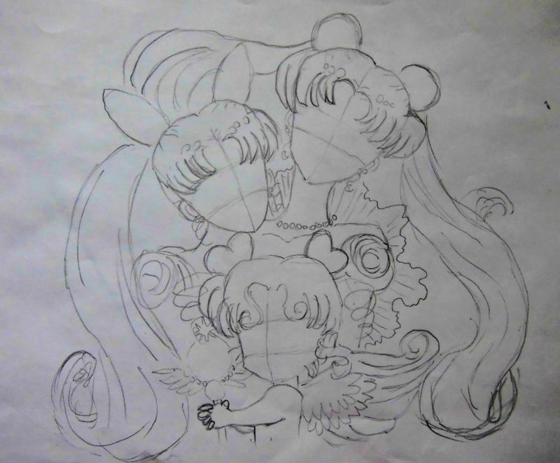 How to draw Chibiusa from Seylor Mun on paper with a pencil 3