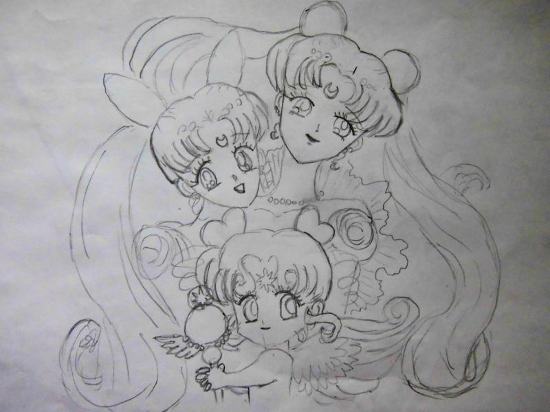 How to draw Chibiusa from Seylor Mun on paper with a pencil 4