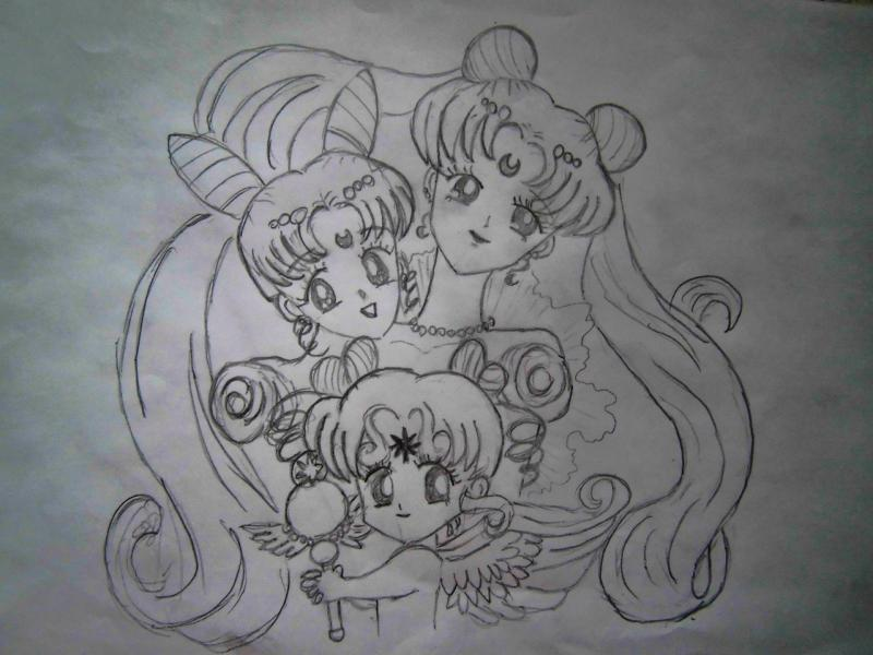 How to draw Chibiusa from Seylor Mun on paper with a pencil 5
