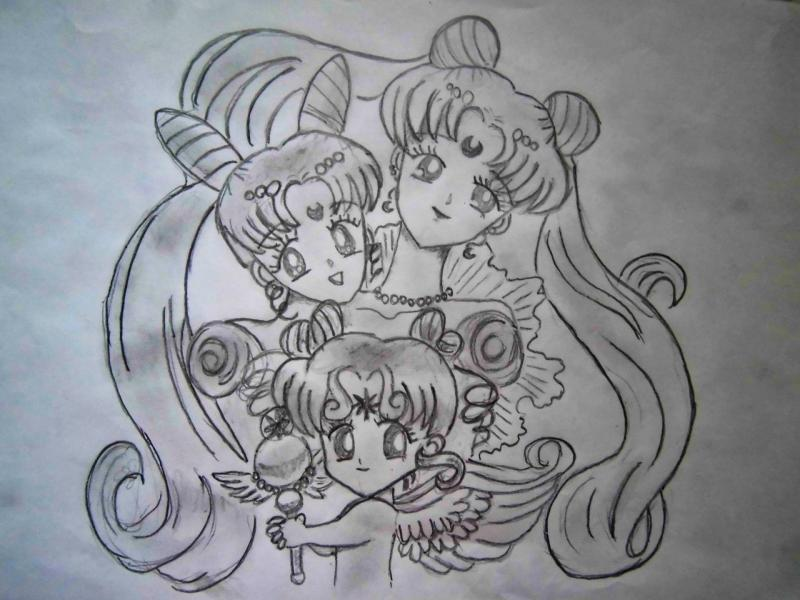 How to draw Usagi, the Baby, Chibi-chibi with a pencil