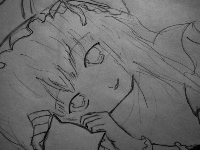 How to draw Yuki Asuna from the master throwing online a pencil on paper 3