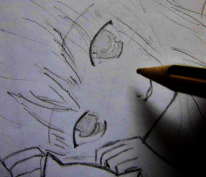 How to draw Yuki Asuna from the master throwing online a pencil on paper 4