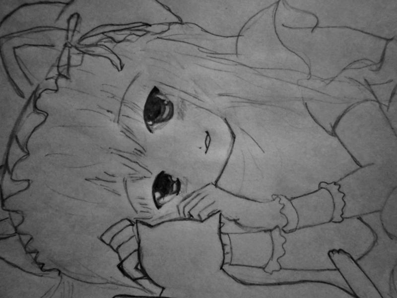 How to draw Yuki Asuna from the master throwing online a pencil on paper 5