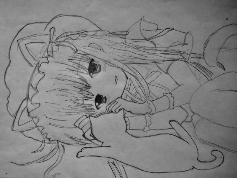 How to draw Yuki Asuna from the master throwing online a pencil on paper 6