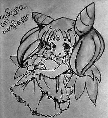 How to draw Chibiusa from Seylor Mun on paper with a pencil