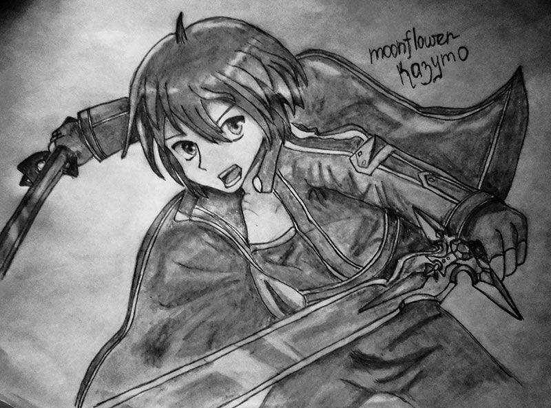 How to draw Kazuto Kirigaye from the master throwing online a pencil on papers