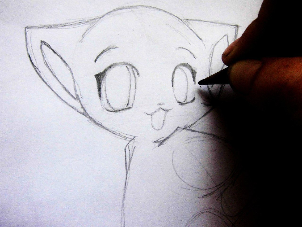 We draw an anime the girl a pencil on paper 4