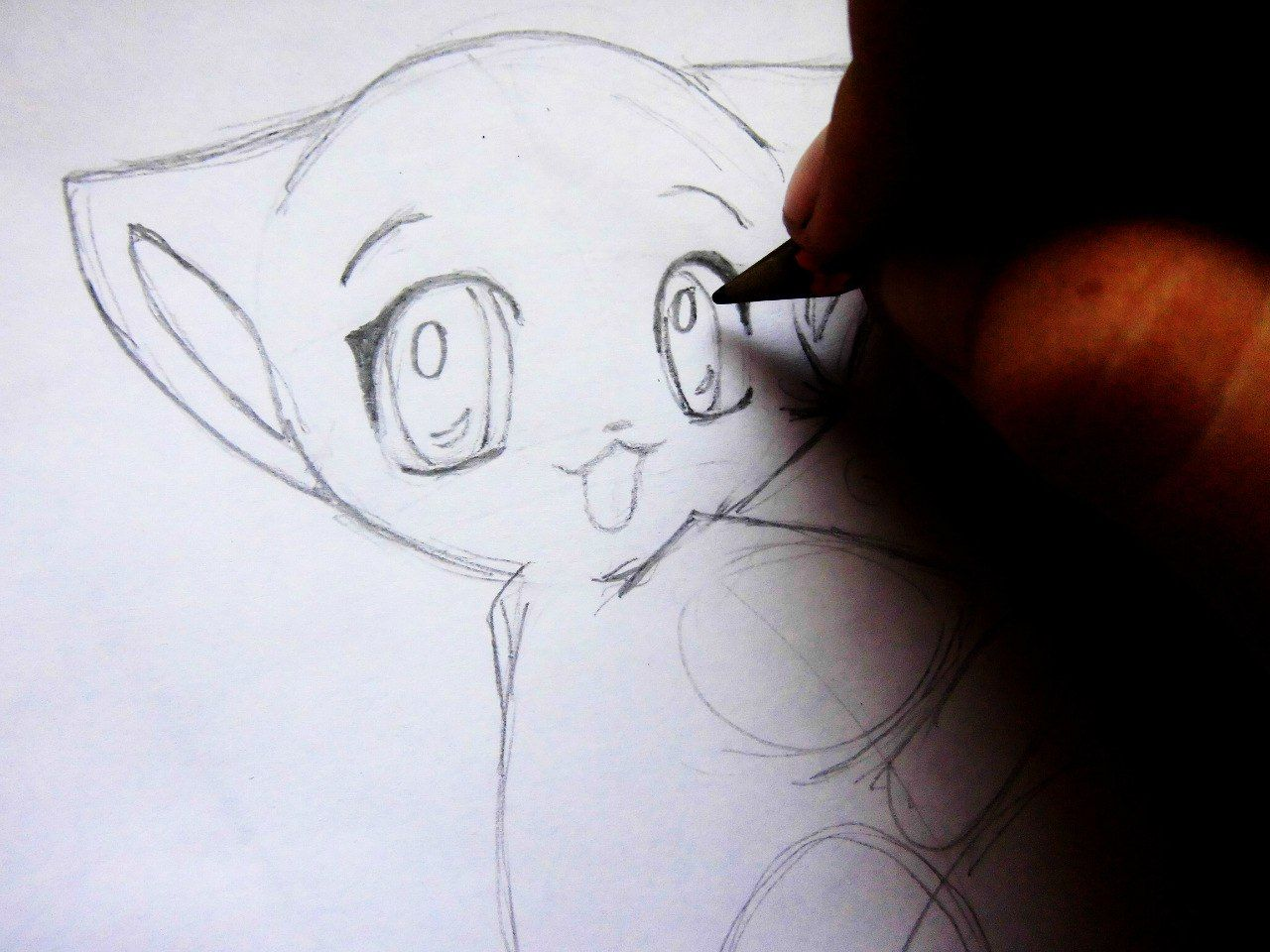 We draw an anime the girl a pencil on paper 5
