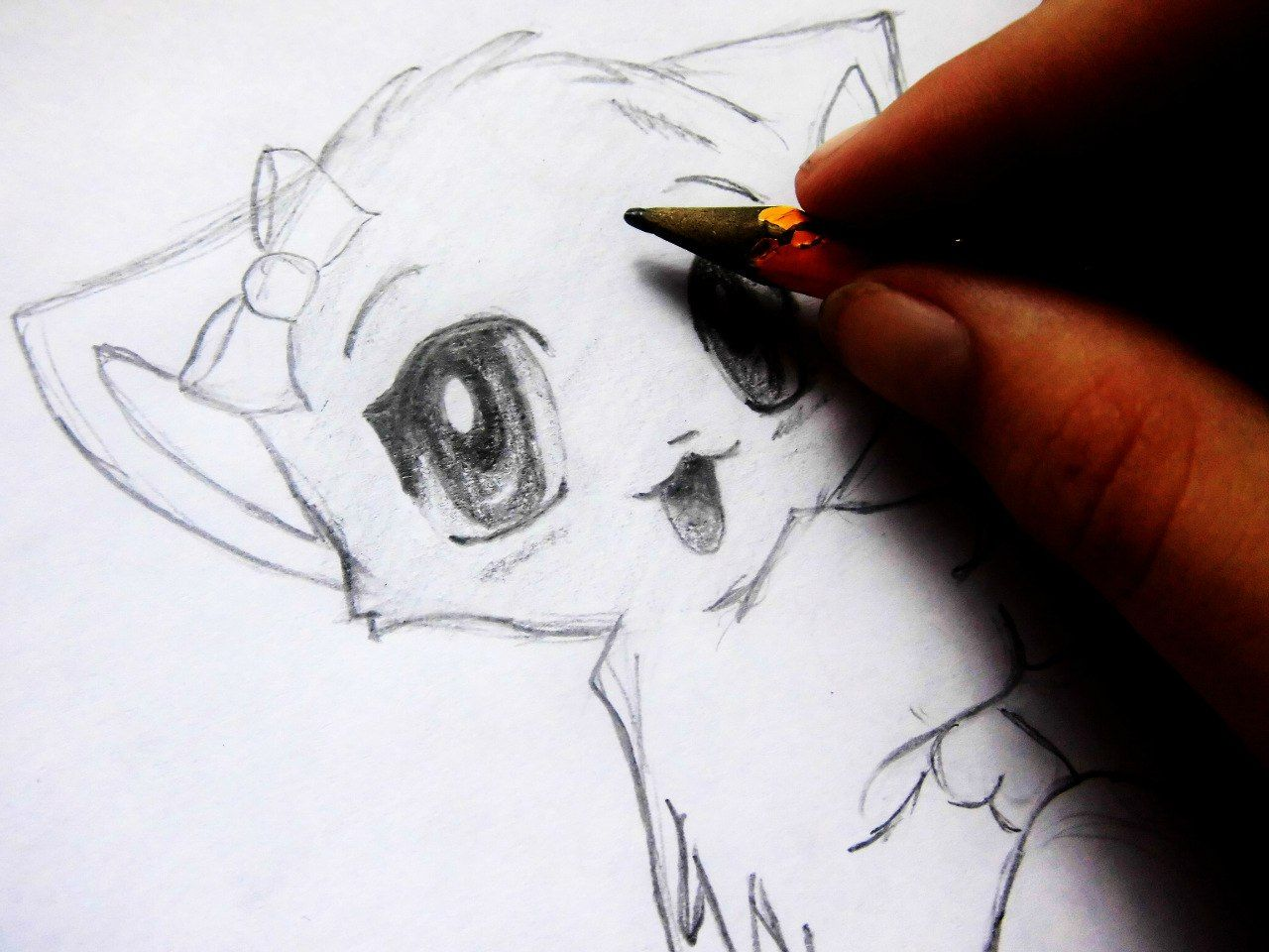We draw an anime the girl a pencil on paper 9