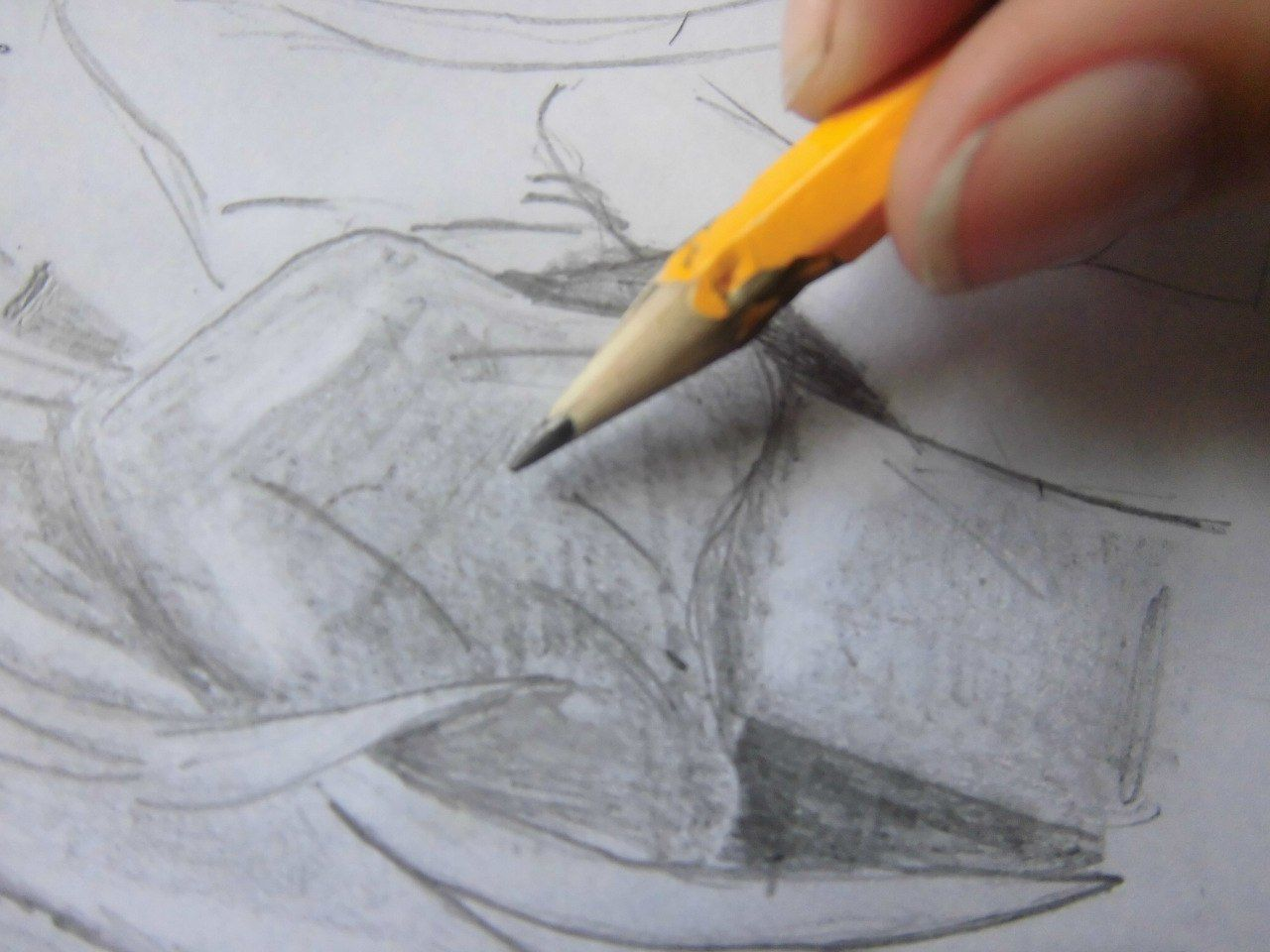 How to draw the nyasha winking the Anime with a pencil step by step 6