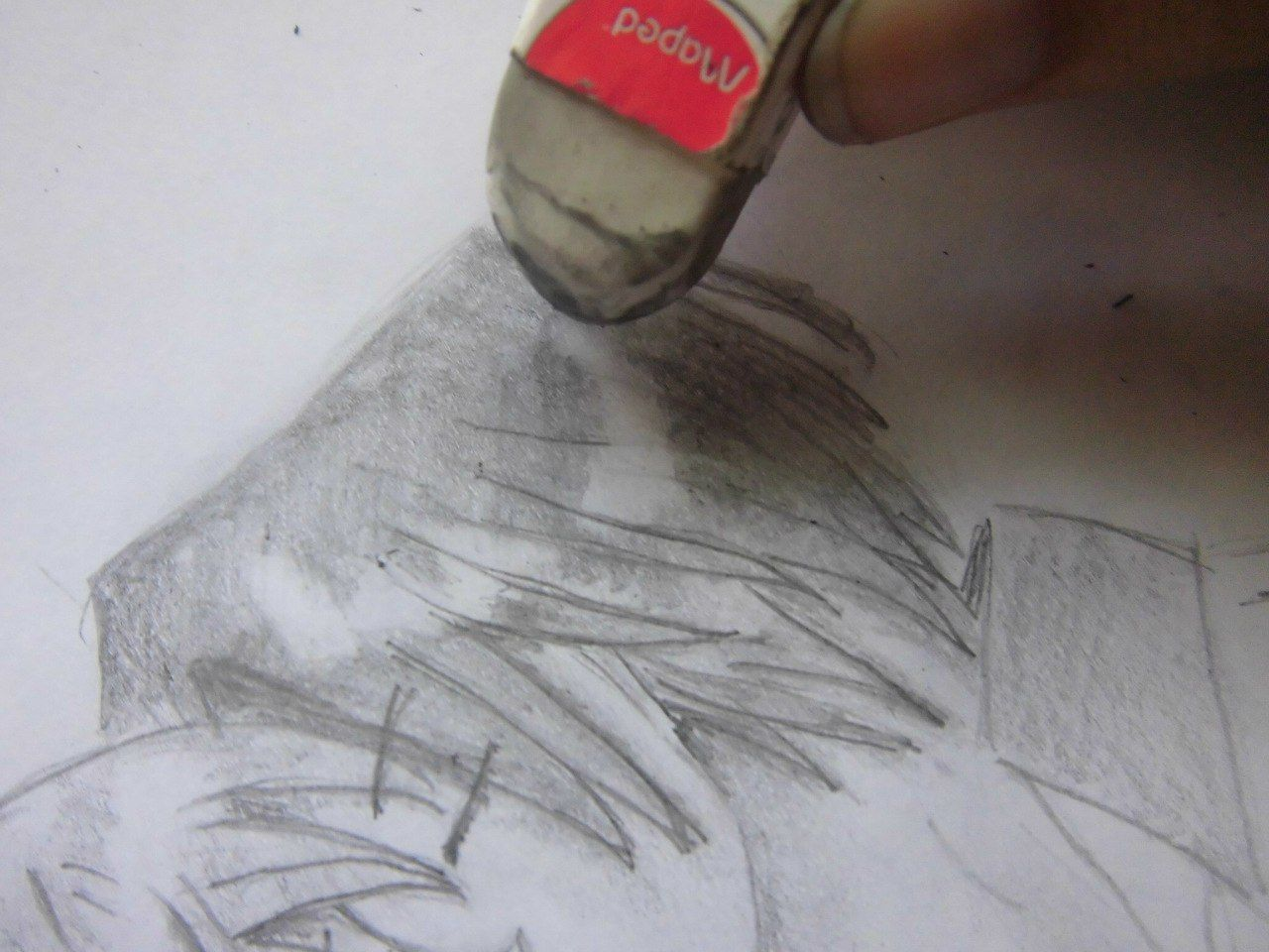 How to draw the nyasha winking the Anime with a pencil step by step 9