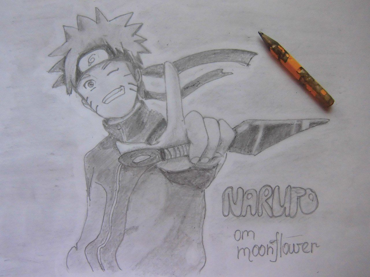 How to draw Naruto with a pencil on paper