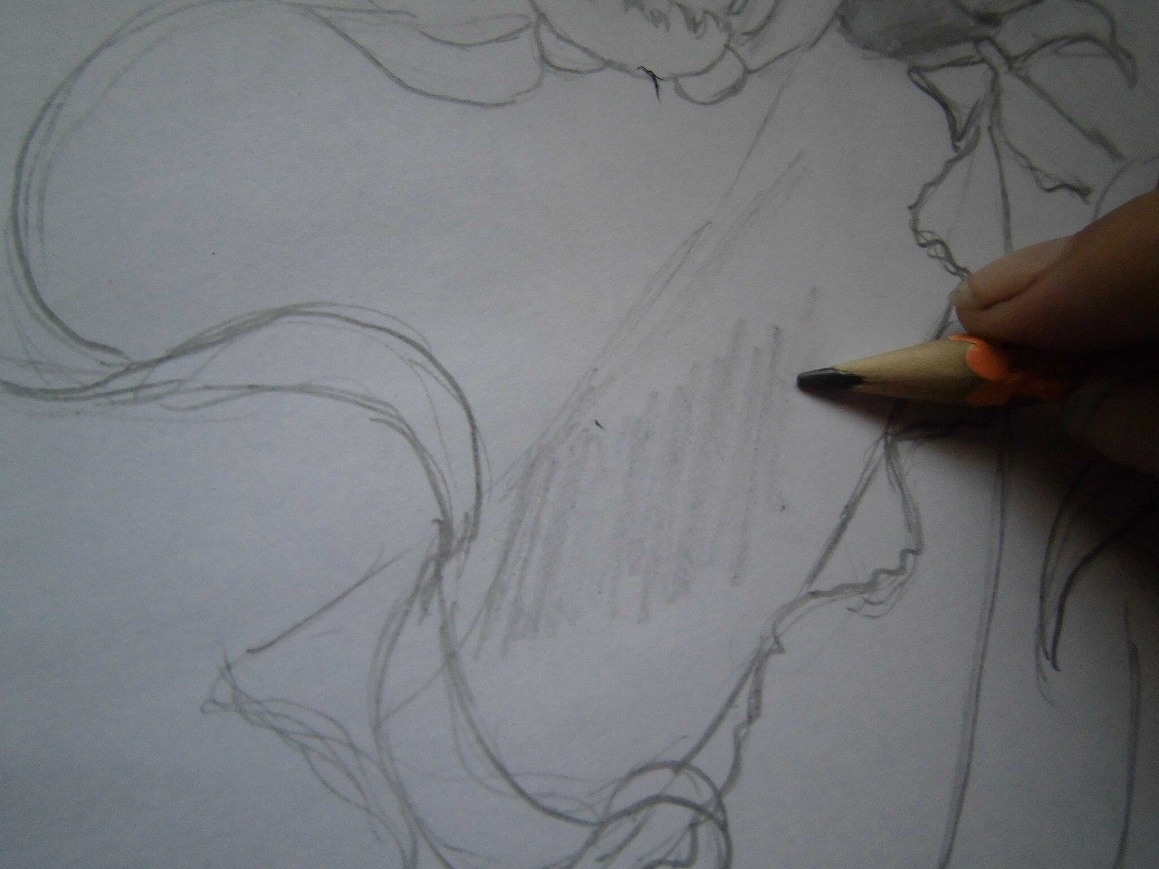 How to draw Sesshomaru to the utmost with a pencil step by step 5