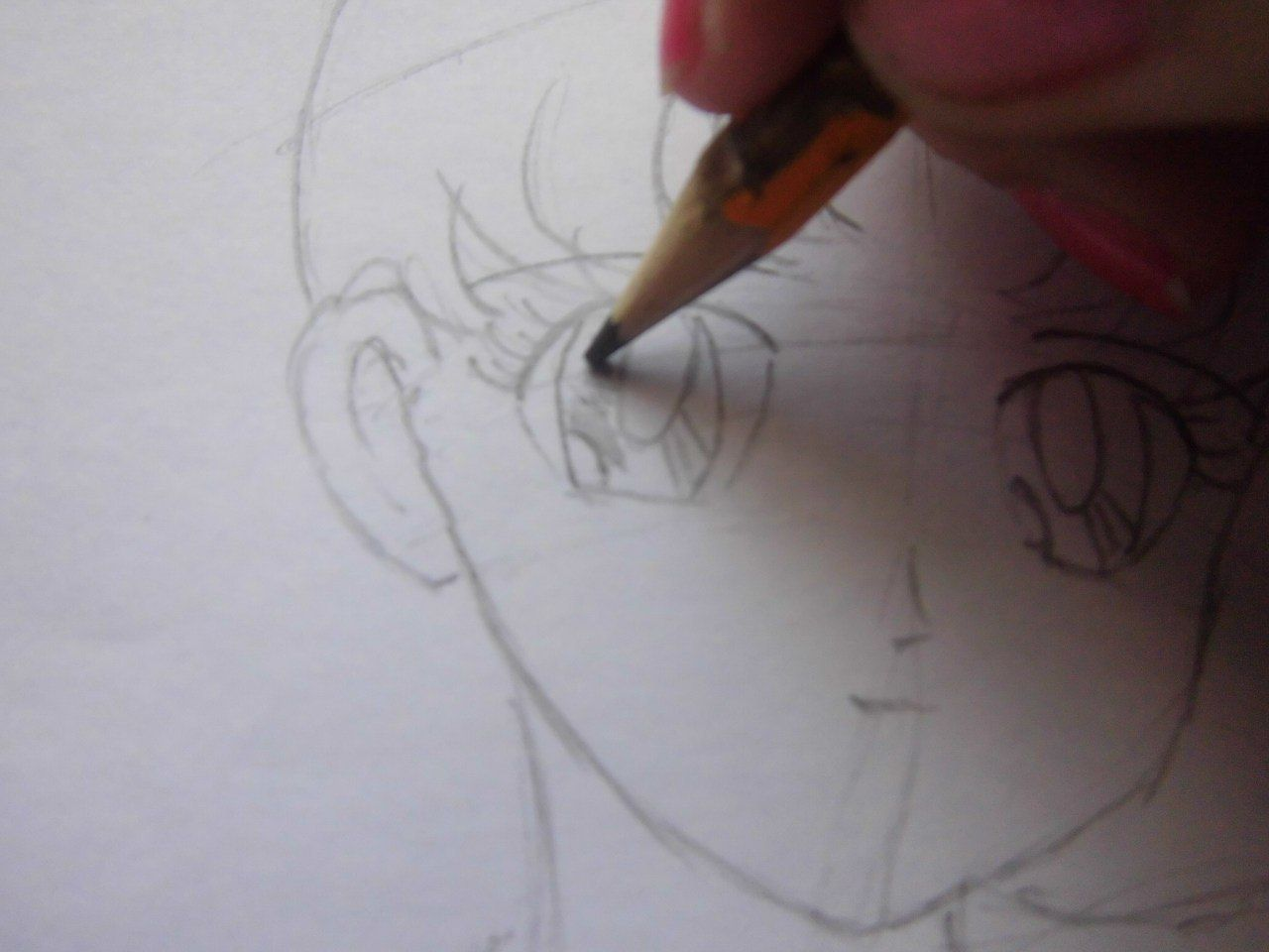 How to draw Yuzuru Otonashi from Angel Beats with a pencil step by step 12