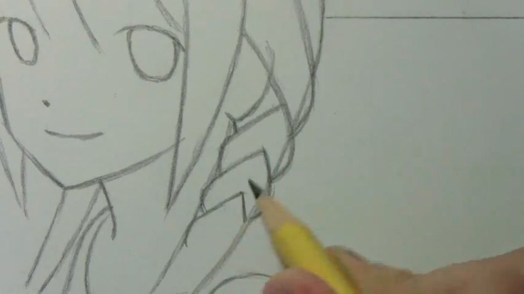 How to draw to Kuris Makise from the Gate of Matte (Steins Gate) with a pencil step by step 2