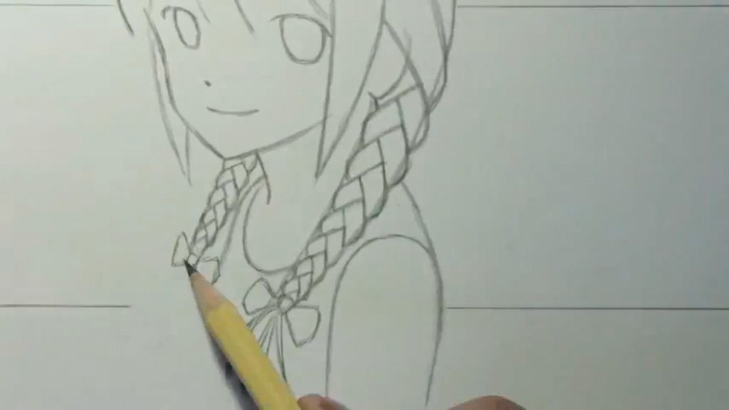 How to draw to Kuris Makise from the Gate of Matte (Steins Gate) with a pencil step by step 4